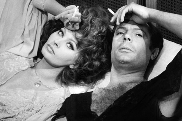Sophia Loren and Marcello Mastroianni in bed